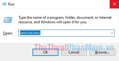 """Ấn tổ hợp phím """"Windows + R"""", sau đó gõ lệnh """"services.msc"""" và chọn OK"""