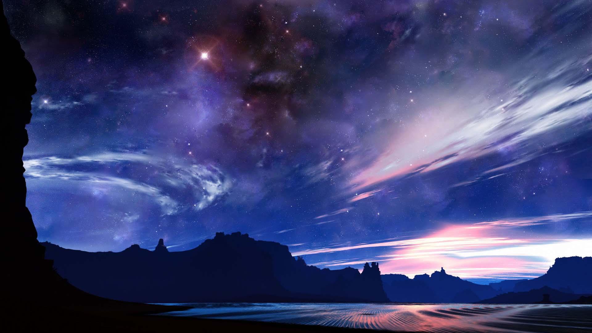 Ảnh nền anime galaxy