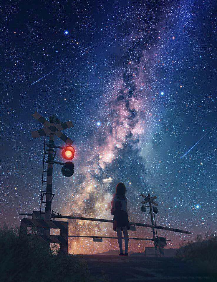 Ảnh nền di động anime galaxy