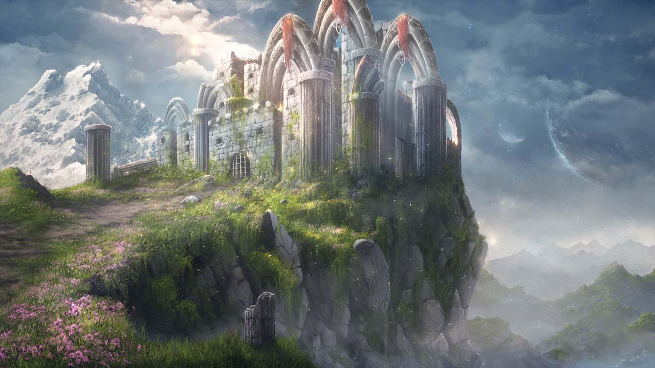 Anime phong cảnh lâu đài