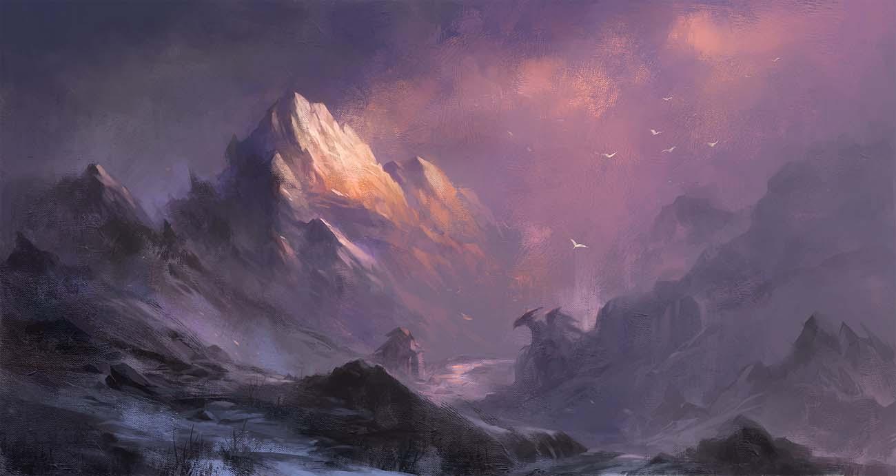 Anime phong cảnh núi tuyết