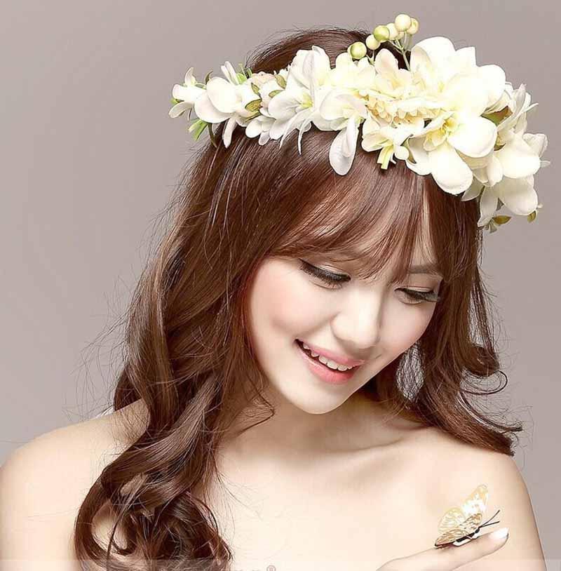Kiểu hoa cưới tết tóc đẹp cho cô dâu xinh xắn