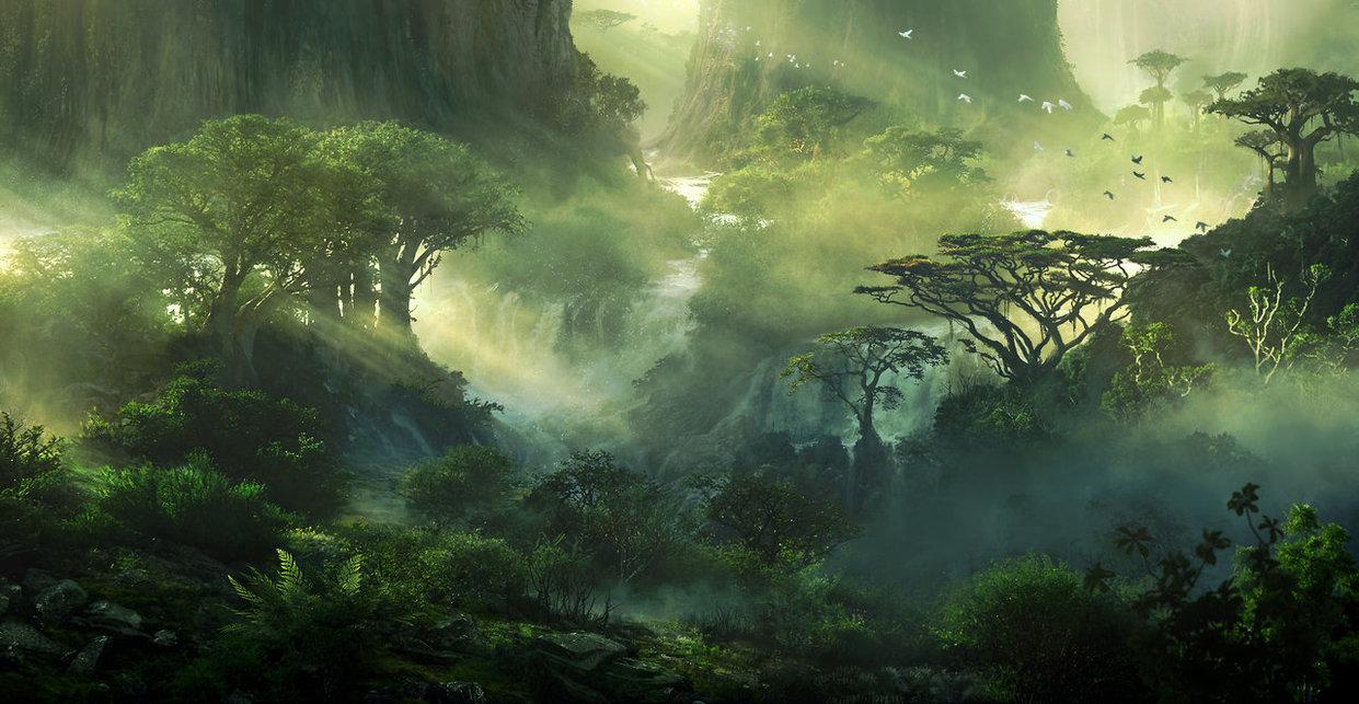 Phong cảnh anime rừng xanh