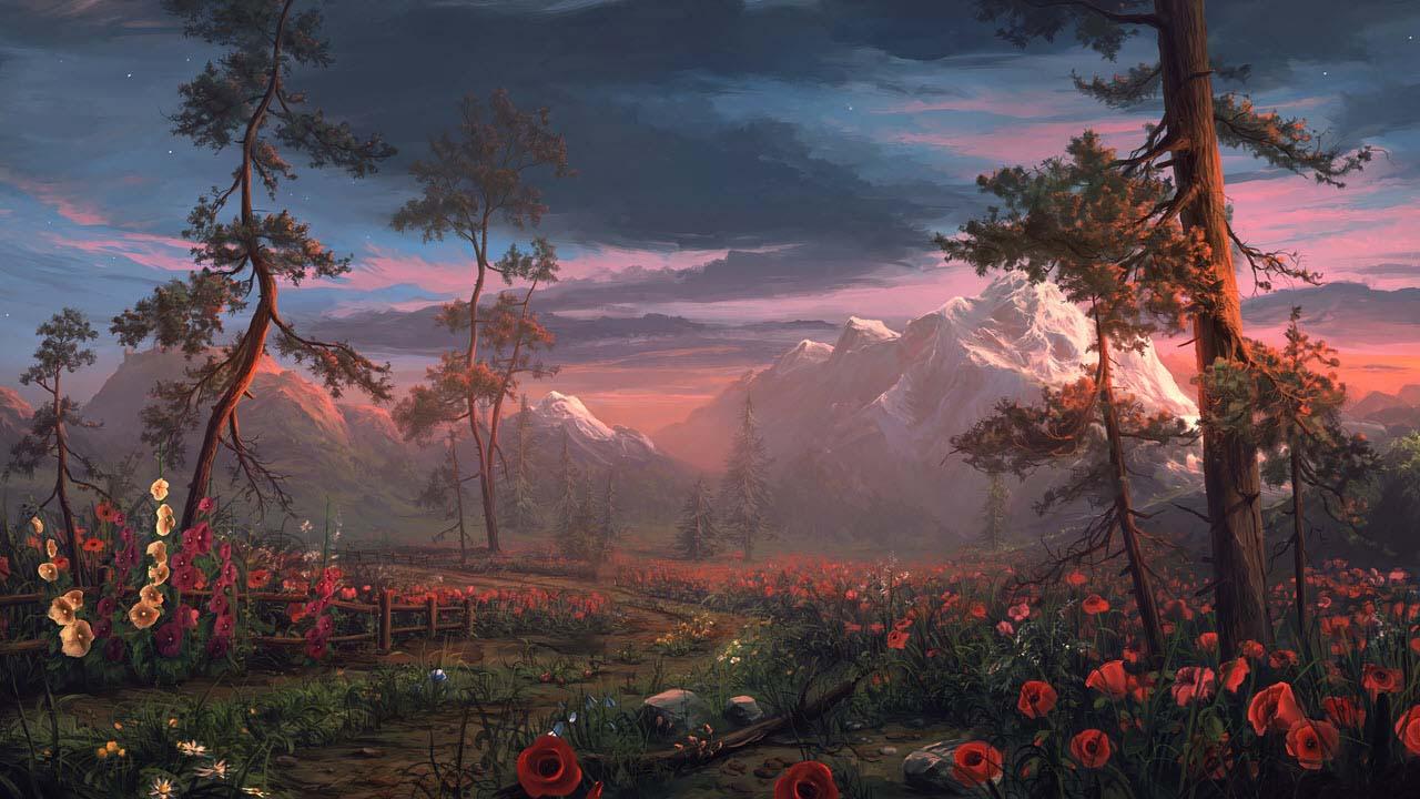 Phong cảnh vườn hoa tong anime