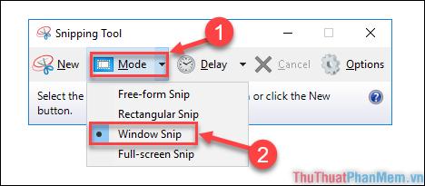 """Chọn """"Mode"""" → chọn chế độ """"Window Snip"""""""