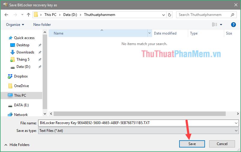 Chọn thư mục lưu file backup và nhấn Save để lưu