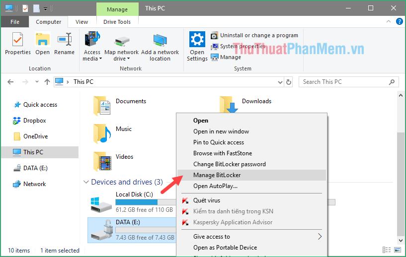 Chuột phải lên ổ USB và chọn Manager Bitlocker