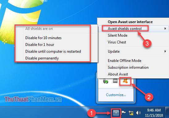 """Click chuột phải vào biểu tượng Avast - chọn """"Avast shields control"""""""