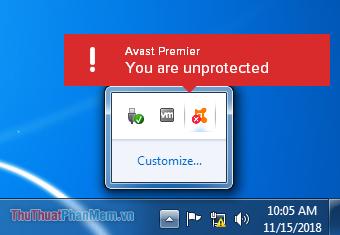 Icon Avast sẽ hiện dấu chéo đỏ để hiện thị việc Avast đang không bảo vệ bạn