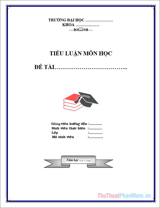 Mẫu bìa tiểu luận cho sinh viên Cao đẳng