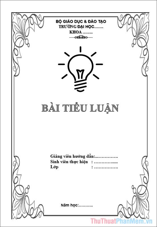 Mẫu bìa tiểu luận cho sinh viên Đại Học