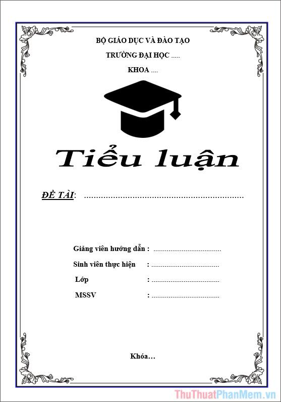 Mẫu bìa tiểu luận cho sinh viên