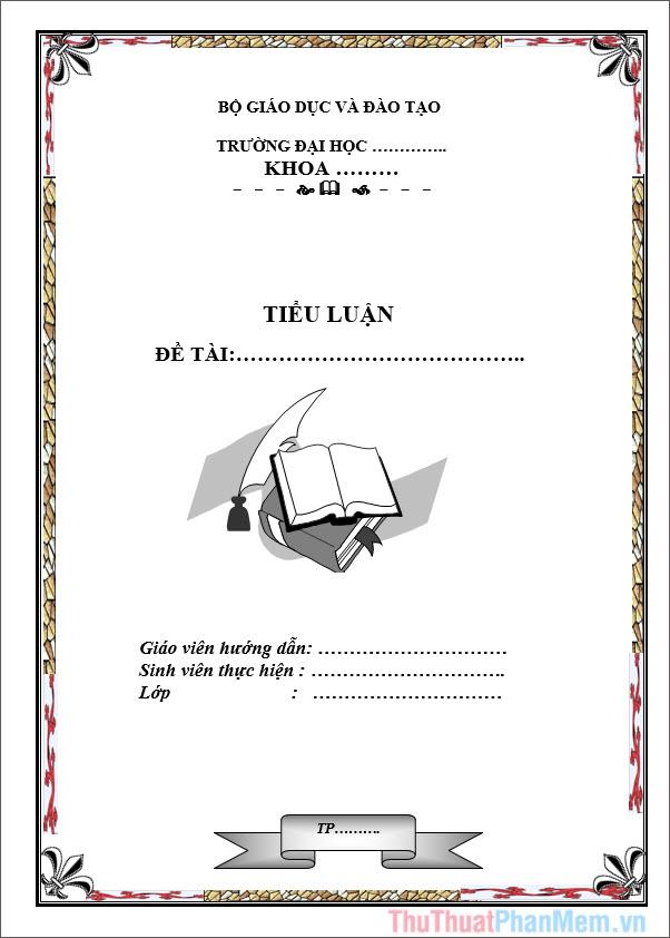 Mẫu bìa tiểu luận ngành Sư phạm