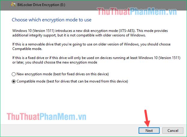 Phương thức mã hóa dùng cho Windows 10 bản 1511 trở lên