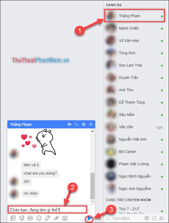 Trường hợp sử dụng Ib (inbox) để gửi tin nhắn đến một người nào đó