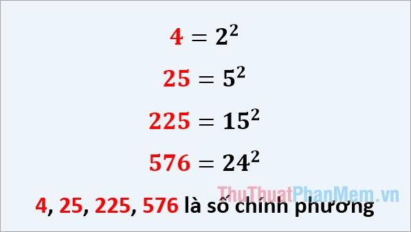 Ví dụ số chính phương