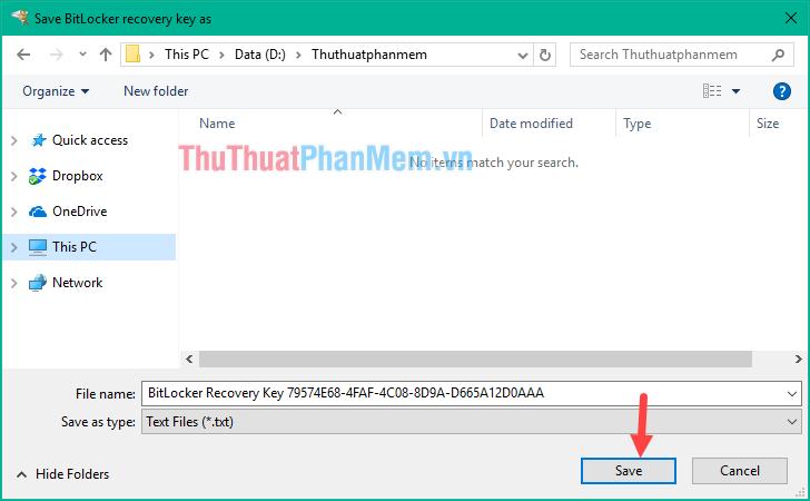 Chọn nơi lưu trữ file backup và nhấn Save