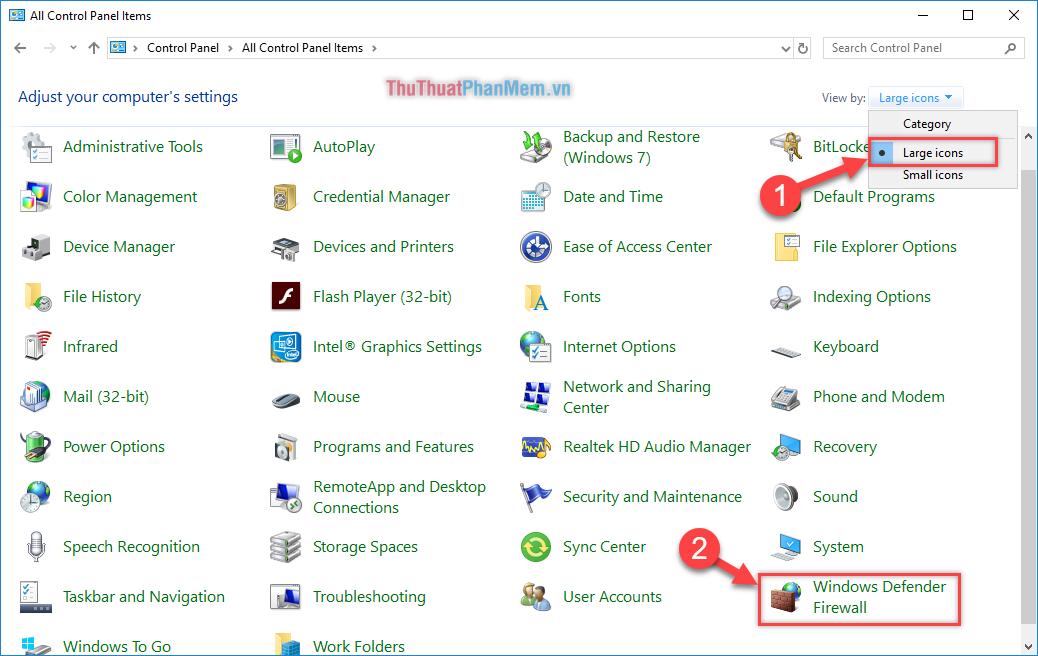 """Chọn vào phần mềm """"Windows Defender Firewall"""""""