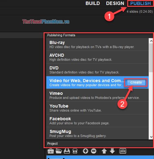 """Chọn """"Video for Web, Devices and Computer"""" và ấn vào nút """"Create"""""""