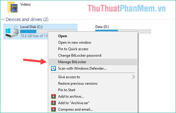 Chuột phải lên ổ dữ liệu và chọn Manage BitLocker