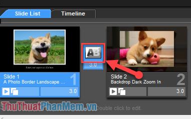 Click đúp vào ô chuyển cảnh giữa 2 ảnh