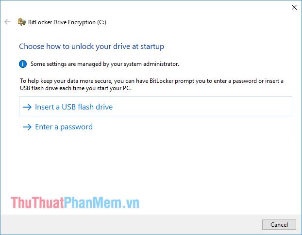 Đã bật tính năng BitLocker trên một phân vùng ổ C