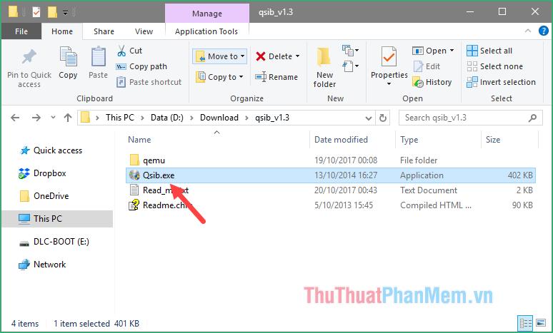 Kích đúp vào file Qsib.exe để chạy ứng dụng