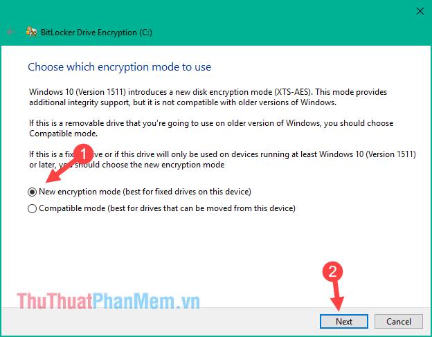 Kiểu mã hoá mới chỉ có trên windows 10 version 1511 trở đi