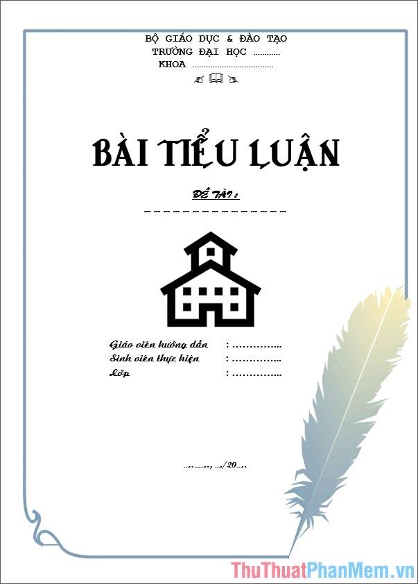 Mẫu bìa tiểu luận thiết kế chuẩn