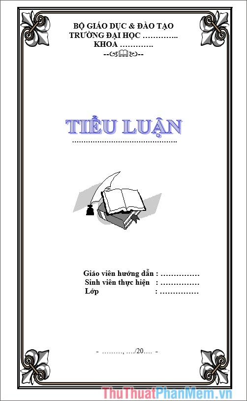 Mẫu bìa tiểu luận thiết kế đẹp và đơn giản nhất