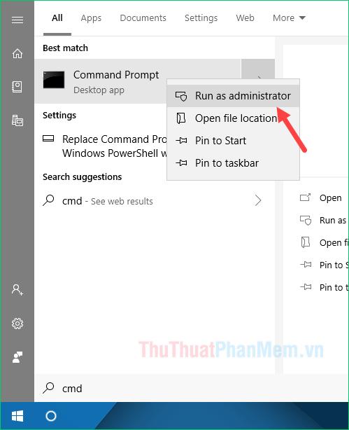 Mở cửa sổ dòng lệnh Command Prompt dưới quyền Admin