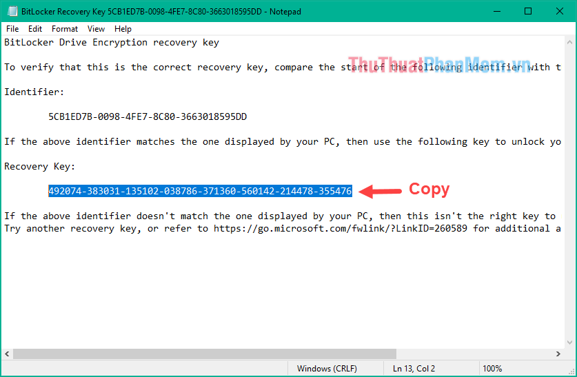 Mở file backup đó ra, copy dãy số gồm 48 chữ số