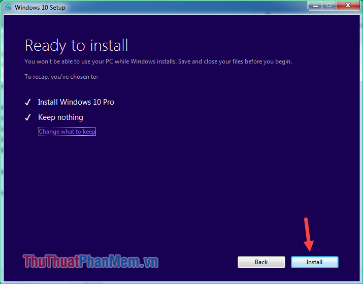 Nhấn Install để bắt đầu cài windows