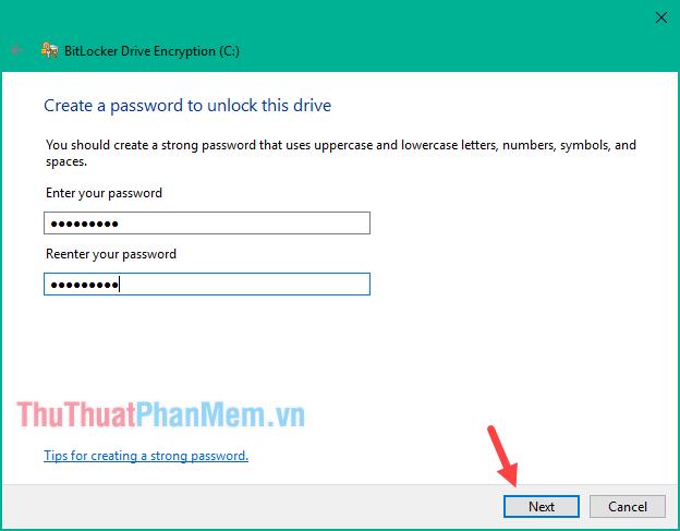 Nhập mật khẩu bảo vệ vào 2 ô trống sau đó nhấn Next