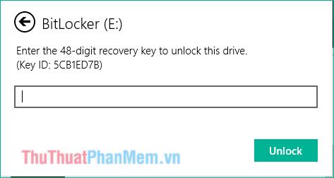 Yêu cầu nhập Recovery Key trong file Backup