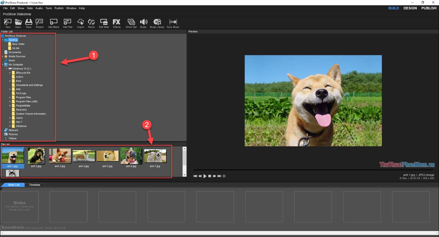 Tìm và chỉ đường dẫn tới file lưu ảnh để làm video của bạn