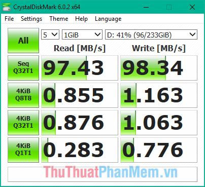 Tốc độ đọc ghi của ổ cứng HDD trước khi mã hoá bằng BitLocker