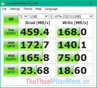 Tốc độ đọc ghi của ổ cứng SSD trước khi mã hoá bằng BitLocker