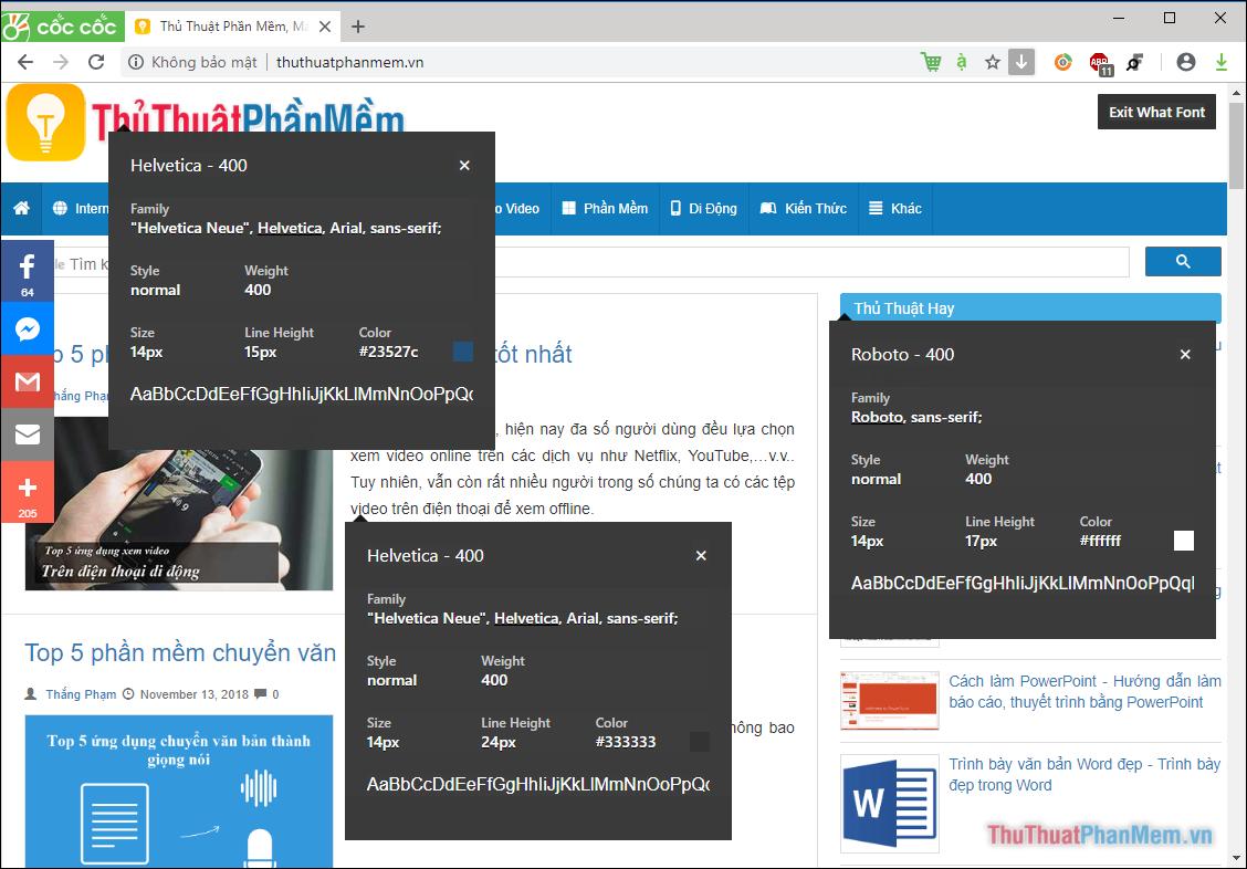 Click chuột vào biểu tượng của tiện ích, sau đó di chuột đến chữ trên Website