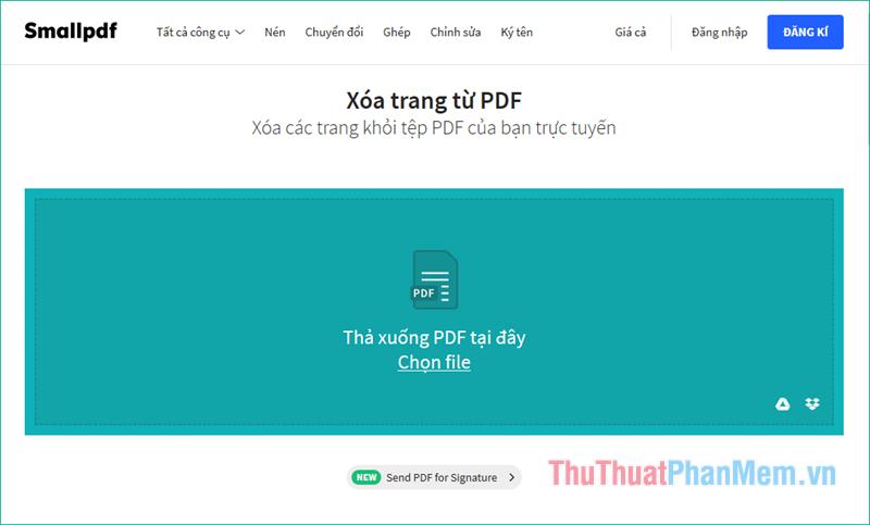 Tại giao diện chính của trang web nhấn Chọn file