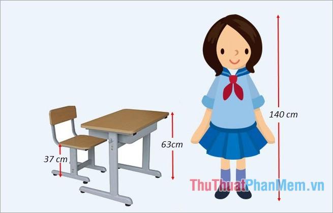 Bảng tiêu chuẩn kích thước bàn ghế học sinh
