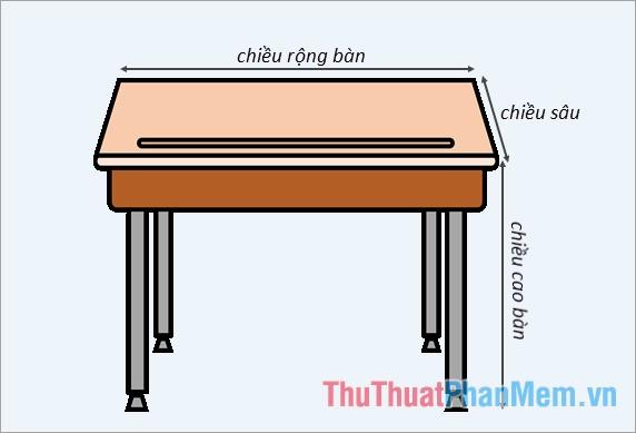 Chiều sâu bàn học được xác định bằng chiều dài từ khớp vai tới cổ tay