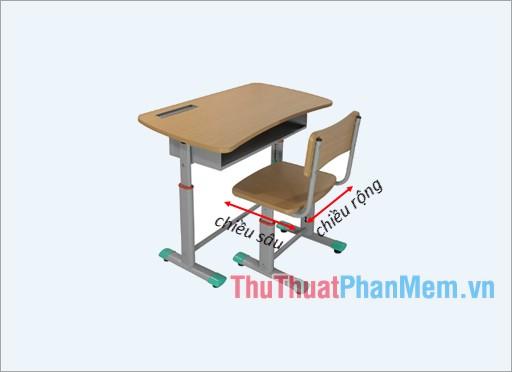 Chiều sâu và chiều rộng ghế học sinh