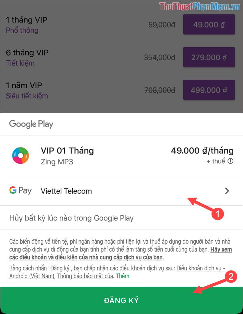 Lựa chọn phương thức thanh toán để trả cước cho gói VIP
