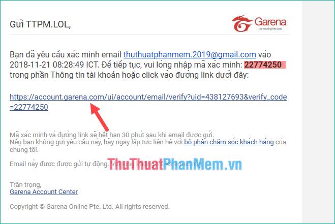 Nhấn vào đường link như hình dưới để xác thực email