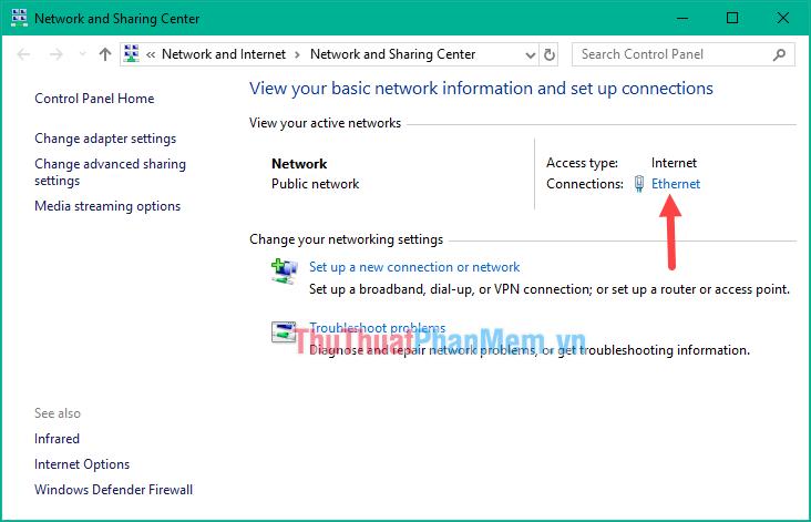 Nhấn vào phần tên Connections