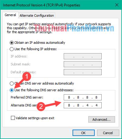Nhập địa chỉ DNS mới vào ô trống
