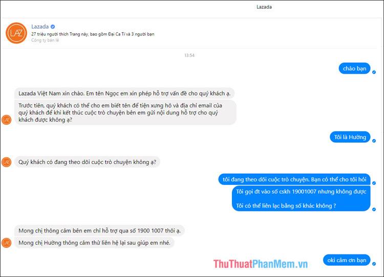 Hộp inbox trò chuyện giữa bạn và nhân viên hỗ trợ của Lazada
