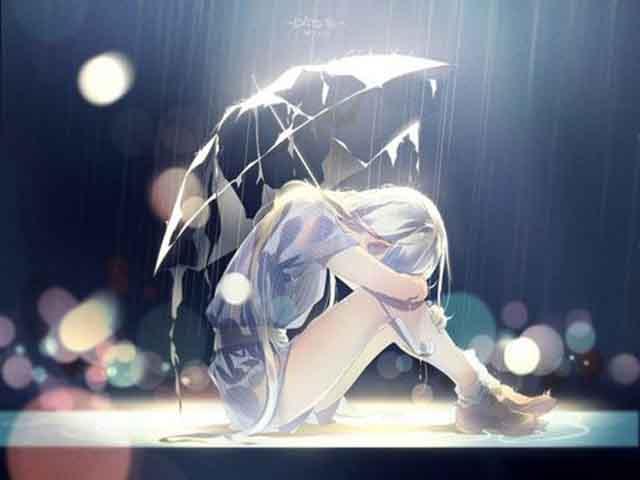 Ảnh đẹp cô gái anime buồn khóc