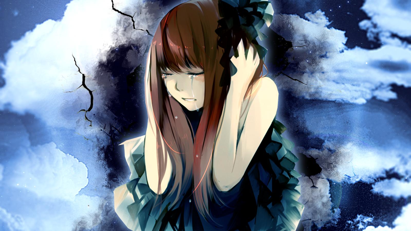 Hình ảnh anime buồn khóc vì tình yêu
